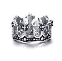 Wholesale Stainless Ring Fleur Lis - Men's Rings Black Royal King Crown Knight Fleur De Lis Cross Vintage Rings for Men Jewelry