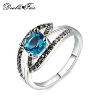 Wholesale Unique Simple Rings - Unique Chic Blue Gemstone White Gold Plated Simple Rings CZ Diamond Brand Jewelry For Women Wedding Wholesale DFR639