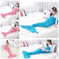 Wholesale Knit Cocoons - 140*70CM Kids Mermaid Tail Blankets Mermaid Knitted Blankets Fish Siesta Sleeping Bags Crochet Cocoon Mermaid Sofa Blankets 50pcs OOA2910