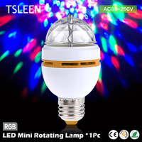 Vente en gros- 11.11 Big Sale + Cheap + led mini crystal auto tournant les couleurs changeant ampoule party dj e27 3w rgb + Bulb Socket Edison Screw