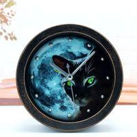Wholesale Lazy Alarm Clock - Wholesale-The old black wood night elf retro pastoral cat alarm desk clock Creative Desktop lazy mute