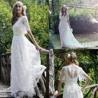 Wholesale long sleeve beach wedding dresses for sale - 2017 New Romantic Bohemian Beach Lace Wedding Dresses Elegant Plus Size Floor Length Boho Wedding Bridal Gown Vestidos De Noiva Cheap