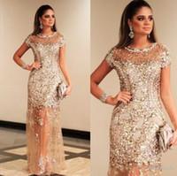 sehen sie durch champagner abendkleider großhandel-2019 New Luxury Sparkly Gold Pailletten Prom Kleider Sexy Durchsichtig Champagner Formelle Abendgesellschaft Kleid Dubai Gala 291