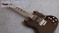 sg gitarre benutzerdefinierte schwarz großhandel-Custom Shop Tony Lommi SG Glanz Schwarz E-Gitarre Floyd Rose Tremolo Brücke EMG Pickups Eisen Kreuz Pearl Griffbrett Inlay
