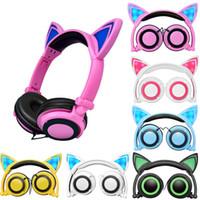 kediler için müzik toptan satış-LED Işık ile sevimli Kedi Kulak Kulaklıklar Katlanabilir Yanıp Sönen Parlayan Oyun Elf Kulaklık Müzik MP3 PC Dizüstü Bilgisayar Cep Telefonu Için Kulaklık
