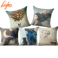 Wholesale Throw Pillows For Sofas - Christian Style Linen Pillow Case Animal Flower Moon Cushion Cover Sailing Mermaid for Sofa Home Decorative Throw Pillow Cover