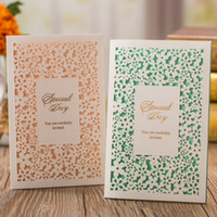 Wholesale Wedding Envelopes Green - wedding invitations setslaser cut wedding invitations cards invitation cards envelope seals stickers for shower celebration birthday party