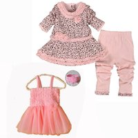 Wholesale Cute Casual Dresses For Winter - Wholesale- 2016 New Infants Baby Girls Dress Set Spring Clothes For Baby Girls Clothing Set Cute Girl Princess Party Dress Set Boutique