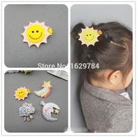 Wholesale Kawaii Fashion Baby - 40pcs lot Fashion Solid Glitter Cute Sun Moon Baby Girls Hairpins Kawaii Felt Rainbow Cloud Girls Hair Clips Baby Hair Accessories