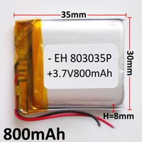 Wholesale E Pads - Model 803035 3.7V 800mAh Lithium Polymer Li-Po Rechargeable Battery For Mp3 MP4 DVD PAD mobile phone GPS power bank Camera E-books recoder