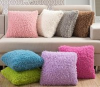 Wholesale Cushions Cover Cheap - Cheap Square Pillow Cushion Covers Pillowcases Imitated Cashmer Plush Car Chair Home Decoration Love Valentine's Gifts Decorative Pillow