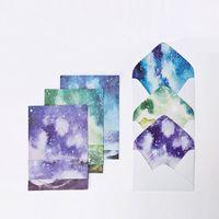 Wholesale Kawaii Letter Sets - Wholesale- CardLover Kawaii 12 sheet letter paper+ 6pcs envelopes Watercolor sky Letter pad Set set writing paper Office&School Supplies