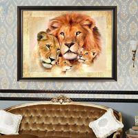 löwe malerei wohnkultur großhandel-Lion Family Diamant Stickerei 5D Diamant DIY Malerei Kreuzstich Home Decor-Y102