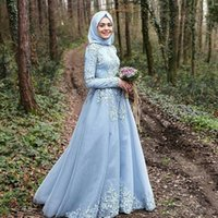 Wholesale Tulle Hijab - Sky Blue Long Sleeve Muslim Evening Dresses robe de soiree courte Hijab Turkish Prom Gowns with Lace Custom Made
