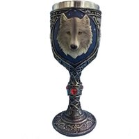ingrosso lupo di resina-3D Stereoscopic Wolf Head Cup Creativo Bere calice in acciaio inox Fodera e resina Shell tazza per KTV / Bar / Party / Cena ecc.