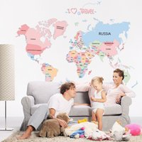 Wholesale Home Decoration Bathroom - World Map Colorful Letter Wall Sticker Vinyl Wall Stickers For kids Rooms Living Room Home Decorations Bedroom Stickers Posters