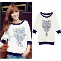 Wholesale Cute Half Sleeve Shirts - Spring New 2016 Cute Owl Animal Print Tracksuits Half Batwing Sleeve Sweatshirt Shirt Beading Hoodies Hoody Women Clothing
