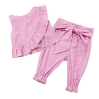 Wholesale Stripe Ruffle Pants - Retail Summer New Girls Clothing Sets Ruffles Stripe Vest+Calf Length Pants 2pcs Fashion Outfits Children Clothing 1-12T H0117