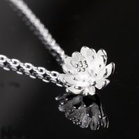 Wholesale Vintage Sterling Silver Flower Charm - 925 sterling silver crystal jewelry pendant statement necklaces silver lotus flower wedding charms ethnic vintage