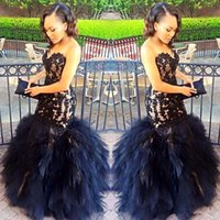 2018 Sexy Prom Dresses lungo Mermaid Sweetheart in rilievo Appliques Black Girl Prom 2K17 Prom Party Gowns Ruffles Gonna Plus Size Abito formale