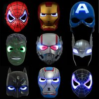 Wholesale adult captain america mask - Cosplay hero Masks for kid&adult Avengers Christmas LED Glowing Marvel Spiderman ironman Captain America Hulk X-Man Party Mask Halloweens