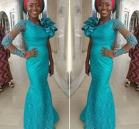 Wholesale Turquoise Blue Dress Red Carpet - Turquoise Long Aso Ebi Evening Dresses With One Long Sleeves Beaded Red Carpet Dresses With Big Shoulder Flowers Custom Made Party Gowns