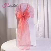 Wholesale Color Chair Cover - 100 pcs lot 15 color option Wedding Organza Chair Cover Sashes Sash Party wedding decoration Bow