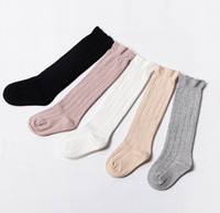 Wholesale Girls Solid Color Socks - 2017 New Baby Girl Socks Lace Solid Color High Socks Children Spring Autumn Princess Socks 0-3Y 1774