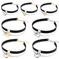 herz o ring großhandel-Mädchen Damen Chocker Samt Halskette mit O-Ring / Buchstabe D / Herz Charm / Dreieck Anhänger Kragenkette