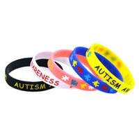 Wholesale Coloured Wristbands - Wholesale Shipping 50PCS Lot Autism Awareness Wristband Silicon Bracelet Ink Filled Colour Promotion Gift Adult Size