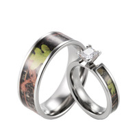 Wholesale Camo Wedding Ring Sets   SHARDON Green Camo Engagement Wedding  Ring Set Women S Titanium