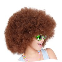 Wholesale Short Brown Men Curly Wig - 200 g Women Men High Quality Short Culry Dance Party Cosplay Cosume Ball Fans Halloween Light Brown Afro Wigs