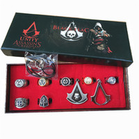 Wholesale Pendent Box - Set of Assassin Creed Assassin's Creed 7 Ring + 2 Pendent Unisex in box Collection gift
