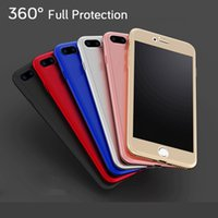Wholesale Smartphone Casing - For iphone 6s plus iphone 7 cases 360 Degree Full Coverage Hybrid PC fashion phone cases for iphone 7plus smartphone with tempered glass