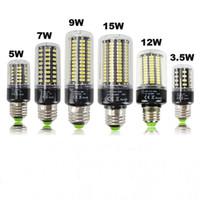 ingrosso e14 ha condotto la lampadina cree 5w-E27 LED Corn Bulb Light 220V 110V 3.5W 5W 7W 9W 12W 15W E14 LED Lampadina SMD5736 No Flicker Luci
