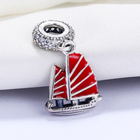 Wholesale Sail Bracelet - Wholesale 925 Sterling Silver Not Plated Red Sailing Pendant Charm European Charms Beads Fit Pandora Snake Chain Bracelet DIY Jewelry