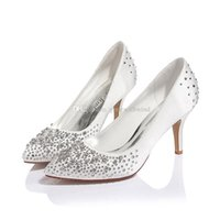 Wholesale Ivory Satin Flats Shoes - best selling fashion crystal satin women shoes high heels wedding shoes bride bridesmaid evening prom party