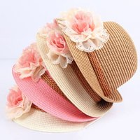 Wholesale Wholesale Straw Hats For Kids - Summer Kids Floral Straw Hats Fedora Hat Children Visor Beach Sun Baby Girls Sunhat Wide Brim Floppy Panama For Girl