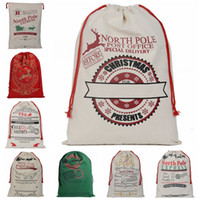 Wholesale Cheap Cotton Gift Bags - DHL-Cheap New Christmas Large Canvas Monogrammable Santa Claus Drawstring Bag With Reindeers Monogramable Christmas Gifts Sack Bags 20 style