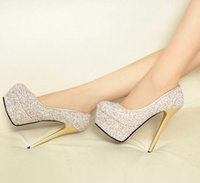 Wholesale Dresses Fashion Star Show - Wholesale New Arrival Hot Sale Super Fashion Knight Star Etiquette Sweety Sequins Show Noble Sexy Club Platform Stage Heels Shoes EU34-39