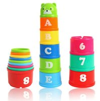 Empilage De Tasses En Gros Pas Cher-Vente en gros - Baby Bath Toy Stacking Pile Up Tower Count Cups