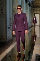 Wholesale Purple Tuxedo Coat - Double Breasted Men Suits Blazer With Pants Bespoke Mariage Homme Wedding Tuxedos Purple Best Man Suits (Coat+Pants+Bow)