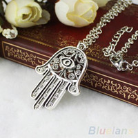 Wholesale Hamsa Eye Necklace - Wholesale-Good Luck Protection Hamsa Symbol Fatima Hand Evil Eye Pendant Chain Necklace 1S7S
