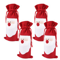 2pcs / lot Christmas Wine Gift Bags - Drawstring Natal Red Wine Bottle Cover Bags Bar Tools Óculos FX143