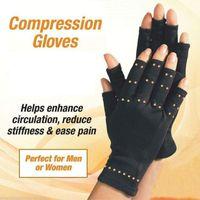 mãos artrite venda por atacado-1 Par de Compressão Terapêutica Cobre Mãos Artrite Luvas Homens / Mulheres Aperto De Circulação Ultra Leve pulsos, dedos, e mãos protecter