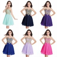Wholesale Strapless Chiffon Mini Dress - Cheap In Stock Homecoming Dresses 2017 Designer Occasion Dress Sweetheart Short Cocktail Party Prom Gowns 100% Real Image CPS406