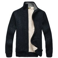 Wholesale Thick Cardigan Sweaters For Men - Wholesale- Men sweaters Long Sleeve Casual cardigan thick sweater knitting sweater outerwear coat winter for mans