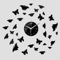 mosca acrilica al por mayor-Espejo Pegatinas de Pared 3d Acrílico Europa Etiqueta Home Decor Poster Cocina Flying Butterfly Horse Gran Reloj de Pared TT306