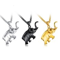 Wholesale Long Elephant Necklace - Anti-Allergic Long Color Lasting 18K Gold Plated Stainless Steel Elephant Pendant Necklace for Men Fashion Hip Hop Necklace Jewelry NL-385
