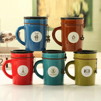 Wholesale Special Coffee Cup - Wholesale- High Quality Special Vintage Ceramic Coffee Mugs Milk Cups Water Cups With Lid, JSF-Cups-036